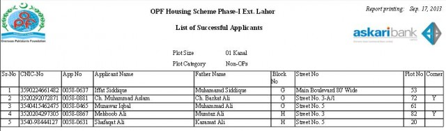 Balloting Result OPF Housing Scheme Phase 1 Ext Lahore - 1 Kanal