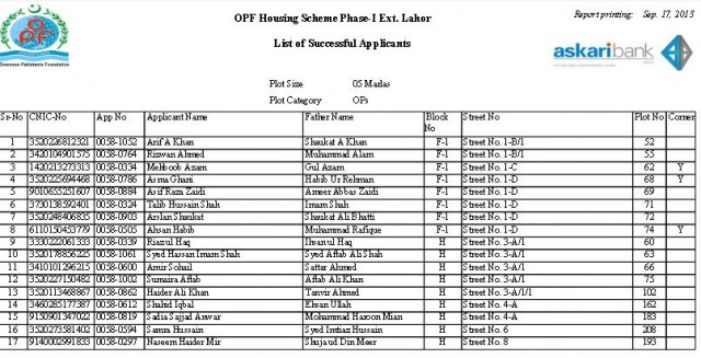 Balloting Result OPF Housing Scheme Phase 1 Ext Lahore - 5 Marla