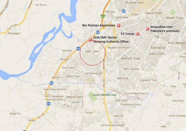 DHA City EME Sector Lahore - Location Map