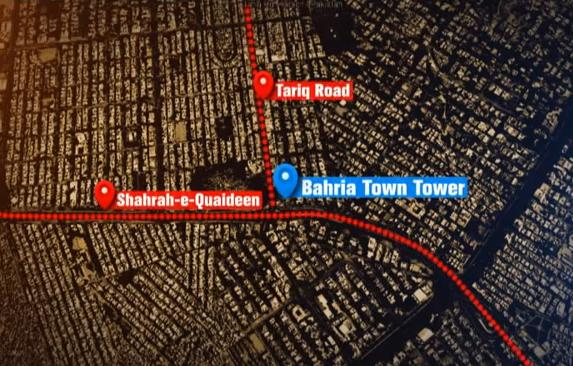Location Map Bahria Town Tower Karachi