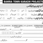 Registration Form Bahria Town Karachi Projects - Bank Copy