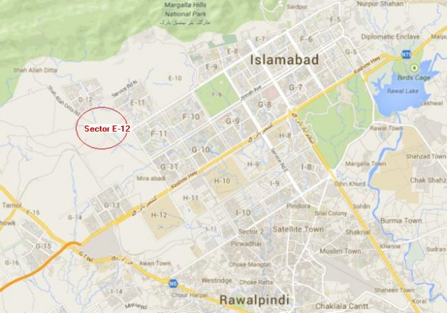Sector E12 Islamabad Location Map