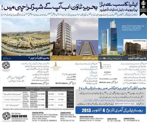 Bahria Town Karachi Booking - Registration Offices Contact Addresses