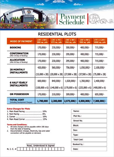 Gulberg Islamabad Residential Plots Payment Schedule