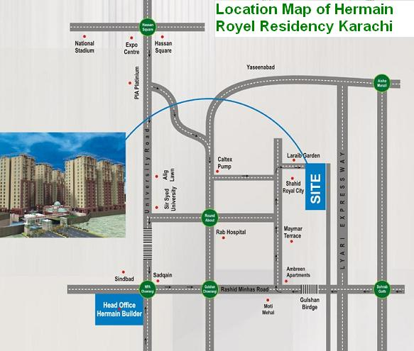 Harmain Royal Residency Karachi - Location Map
