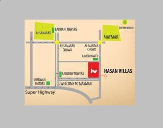 Hasan Villas Karachi - Location Map - Near Gulshan Maymar