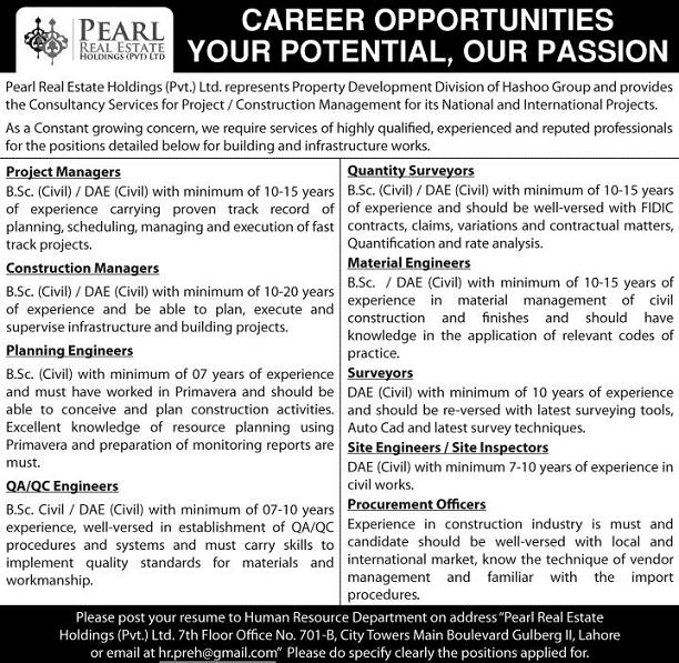 Jobs in Pearl Real Estate Holding ( Property Development Division of Hashoo Group)