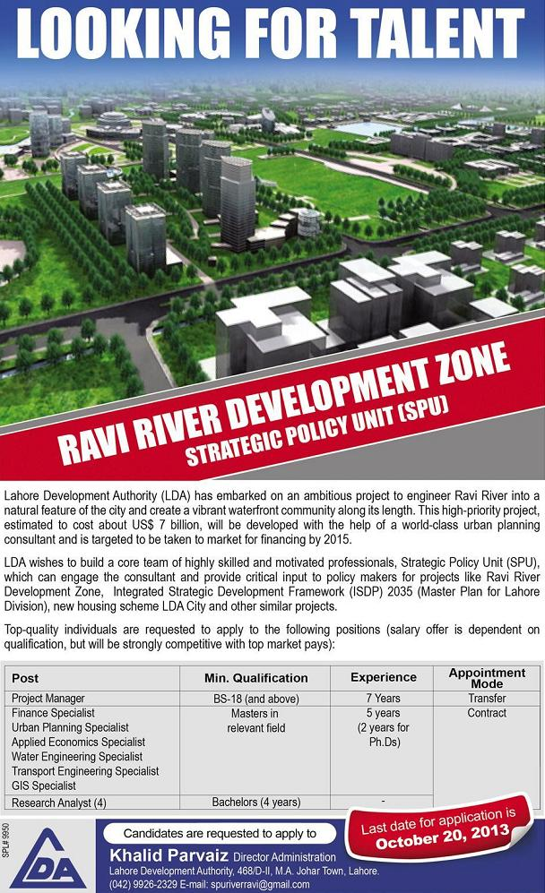 Jobs in Ravi River Development Zone Lahore