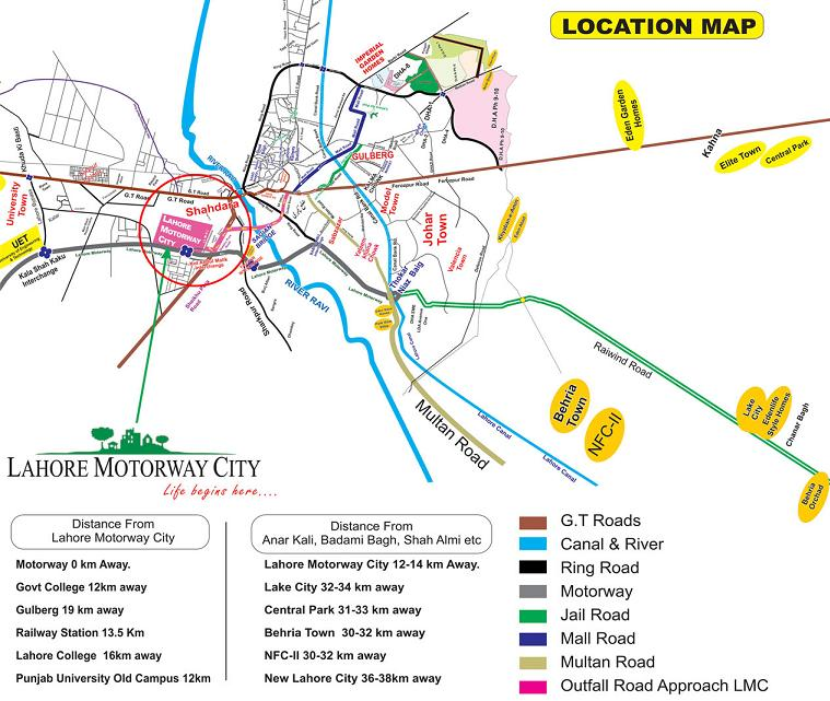Lahore Motorway City Location Map/Plan