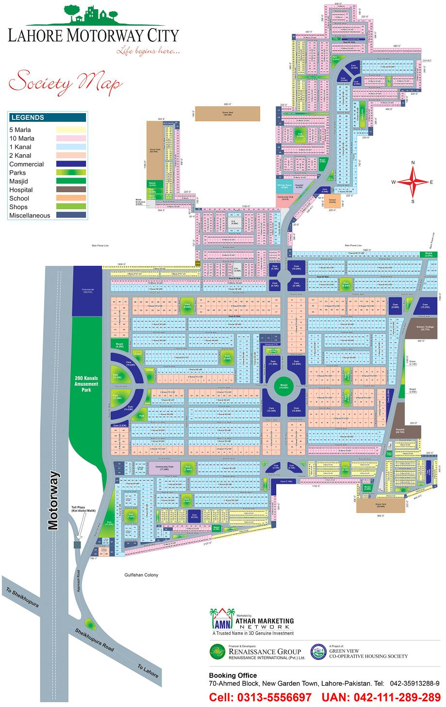 Lahore Motorway City Master Plan Map - detail Layout drawing