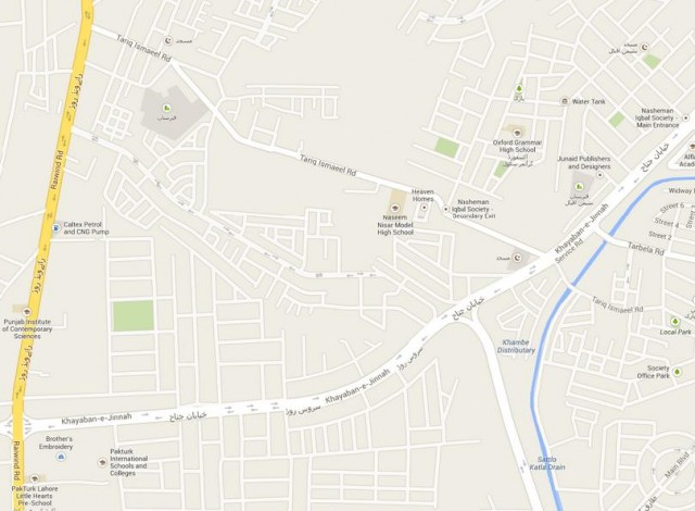 Location Map Jamal Homes, Heaven Homes Tariq Ismail Road Lahore