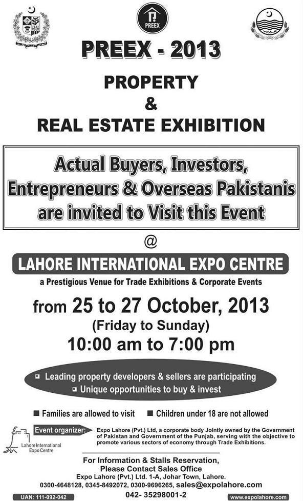 Real Estate Expo Lahore October 25-27, 2013