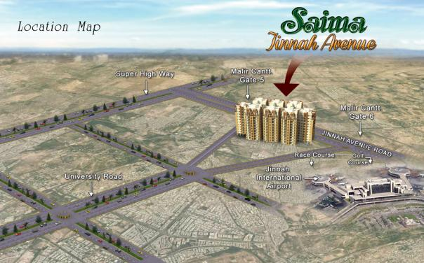 Saima Jinnah Avenue Karachi - Location Map