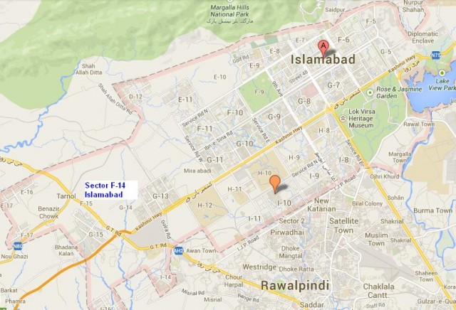 Location Map Sector F-14 Islamabad