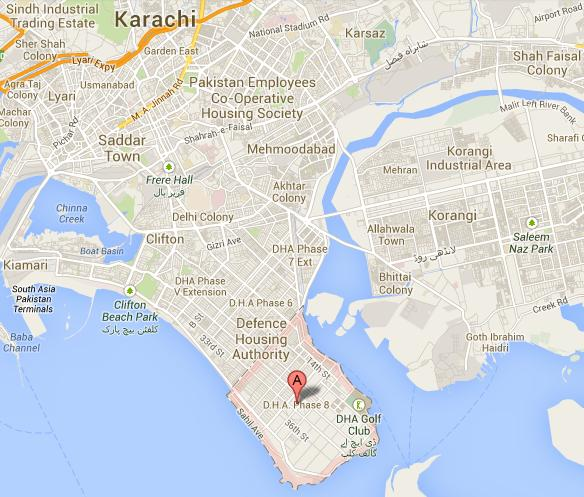 Location Satellite Map DHA Phase 8 Karachi