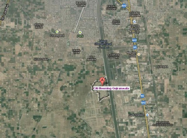 Citi Housing Gujranwala Satellite Location Map