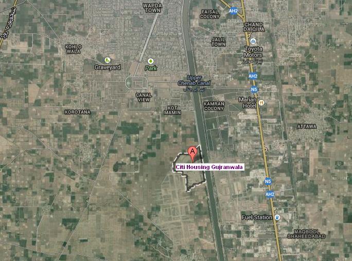 Citi Housing Gujranwala Satellite Location Map Real Estate - Satellite location map