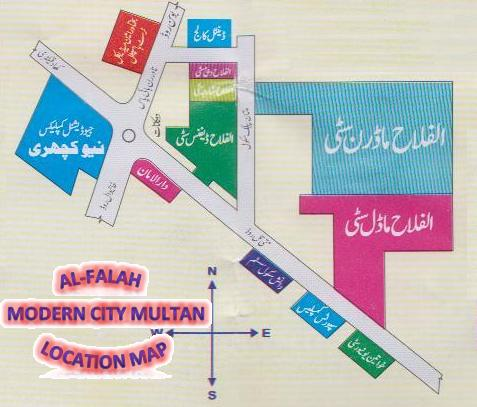 Al-Falah Modern City Multan Location Map