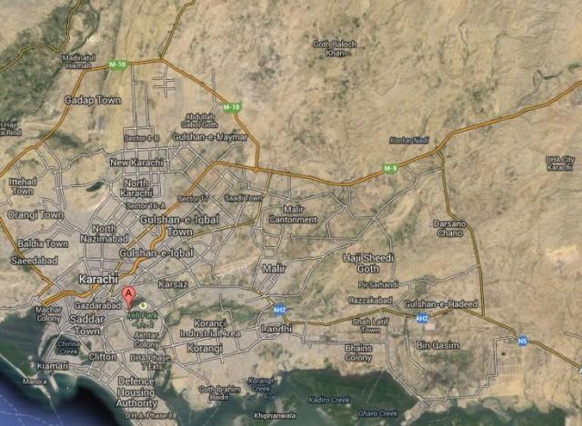 Bahia Town Karachi Satellite Location Map on Motorway M9