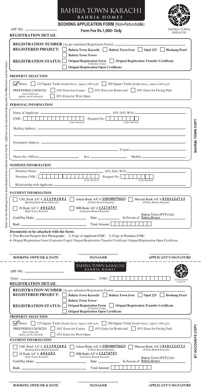 Bahria Town Karachi Homes Booking Application Form 1