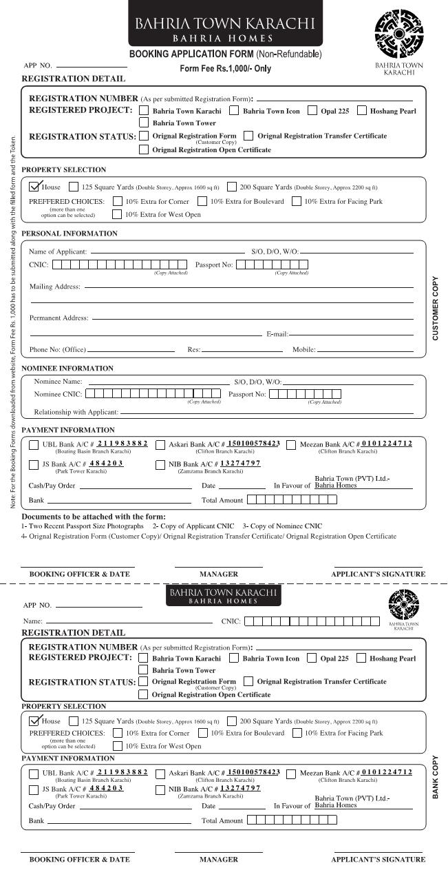 Bahria Town Karachi Homes Booking Application Form 2