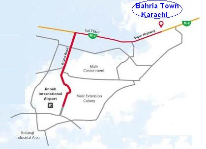 Bahria Town Karachi Location Map (On Super highway)