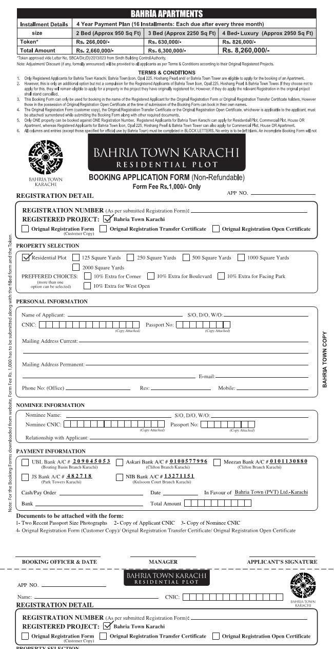 Bahria Town Karachi Residential Plot Booking Application Form 1