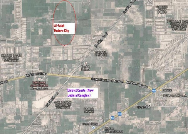 Satellite Map of Al Falah Modern City Multan