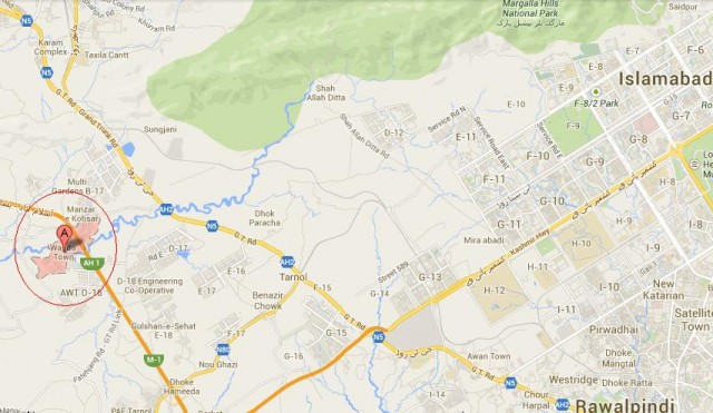 Wapda Town Location Map Islamabad-Rawalpindi