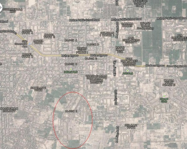 Wapda Town Multan Block E Phase-I Location Map