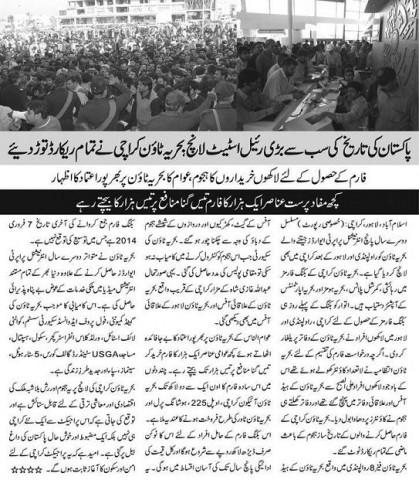 Bahria Town Karachi Booking Form Sale Report
