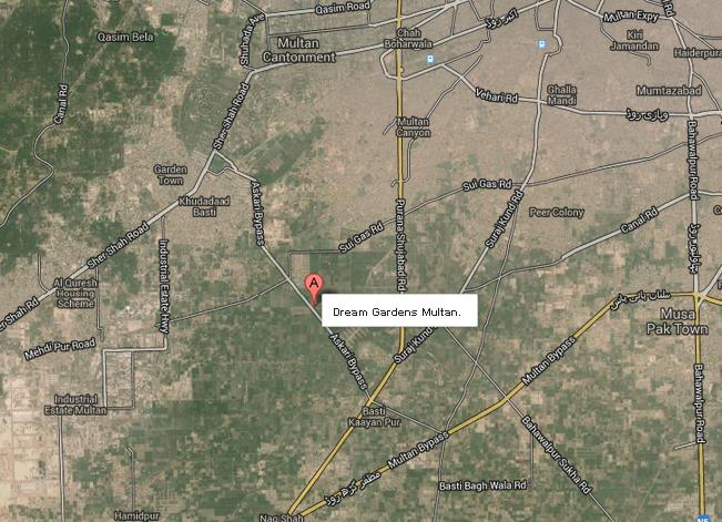 Dream gardens Multan satellite location map