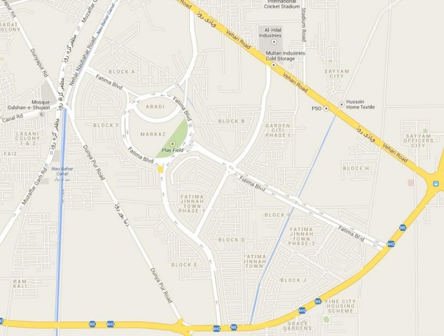 Fatima Jinnah Town Multan Map (All Blocks)