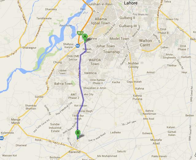Location Map and Route of Raiwind Road Lahore