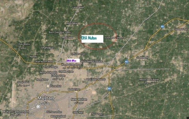 DHA Multan Satellite Location Map