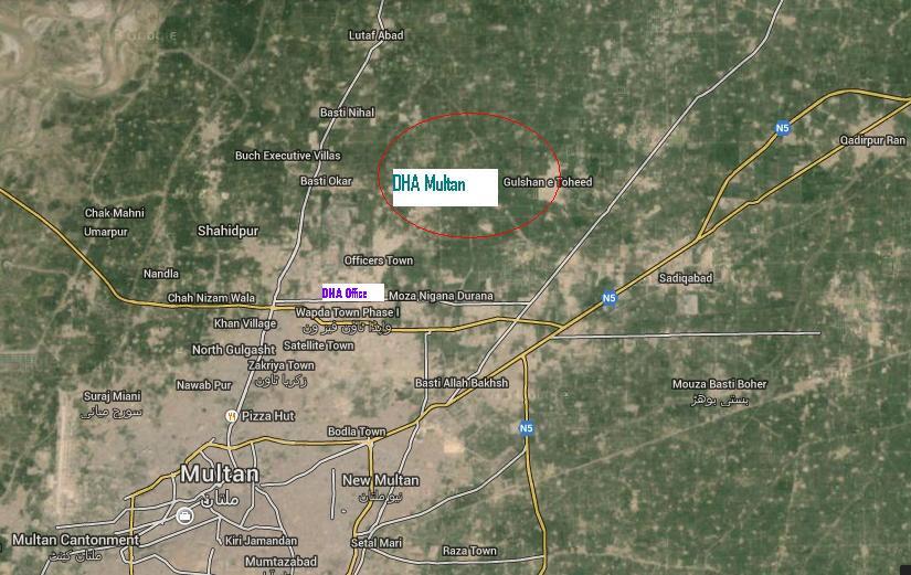 DHA Multan Satellite Location Map Real Estate Housing Town - Satellite location map