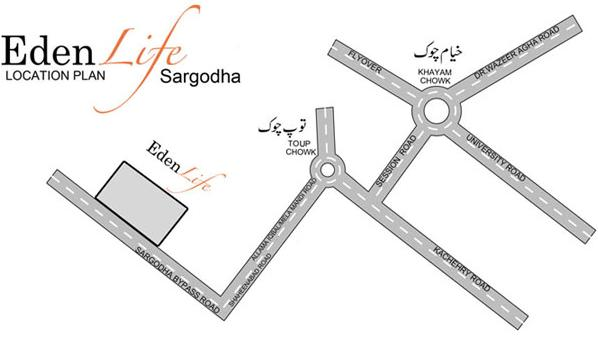 Eden Housing Sargodha Location Map
