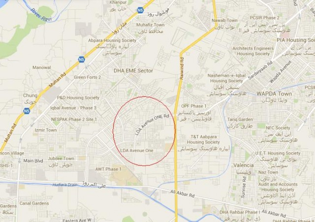 LDA Avenue One Lahore Location Map