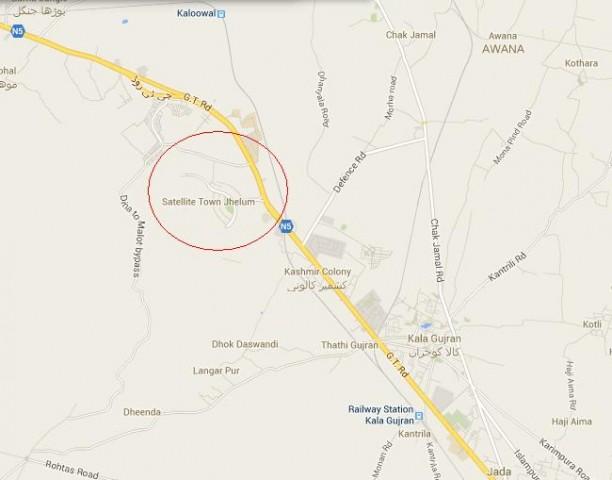 Location Map Satellite Town Jhelum