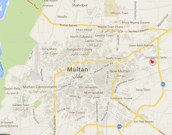 Sohni Dharti Housing Scheme Multan Location Map