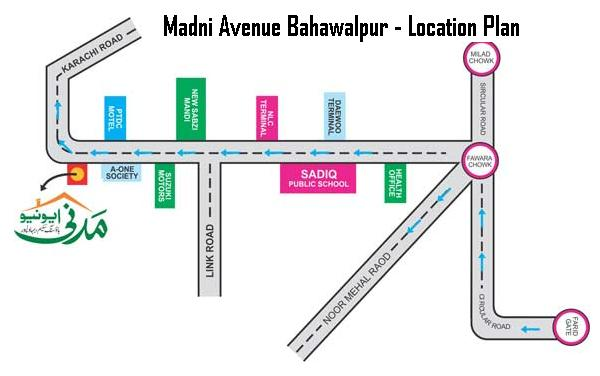 Madni Avenue Bahawalpur Location Map