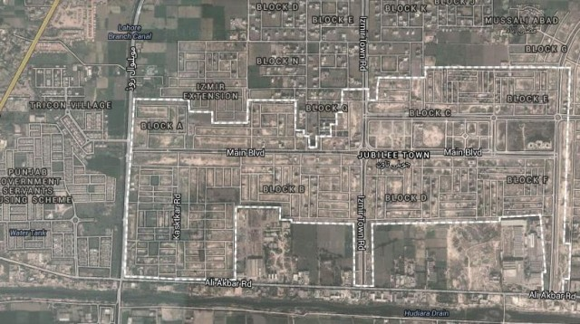 Jubilee Town Lahore Satellite Map
