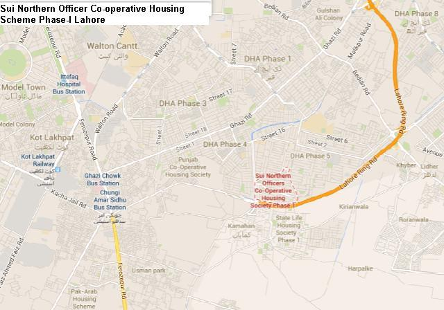 Location Map Sui Northern Officer Co-operative Housing Scheme Phase-I Lahore