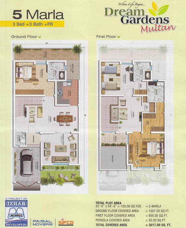5 Marla House Layout Drawings in Dream Gardens Multan Real