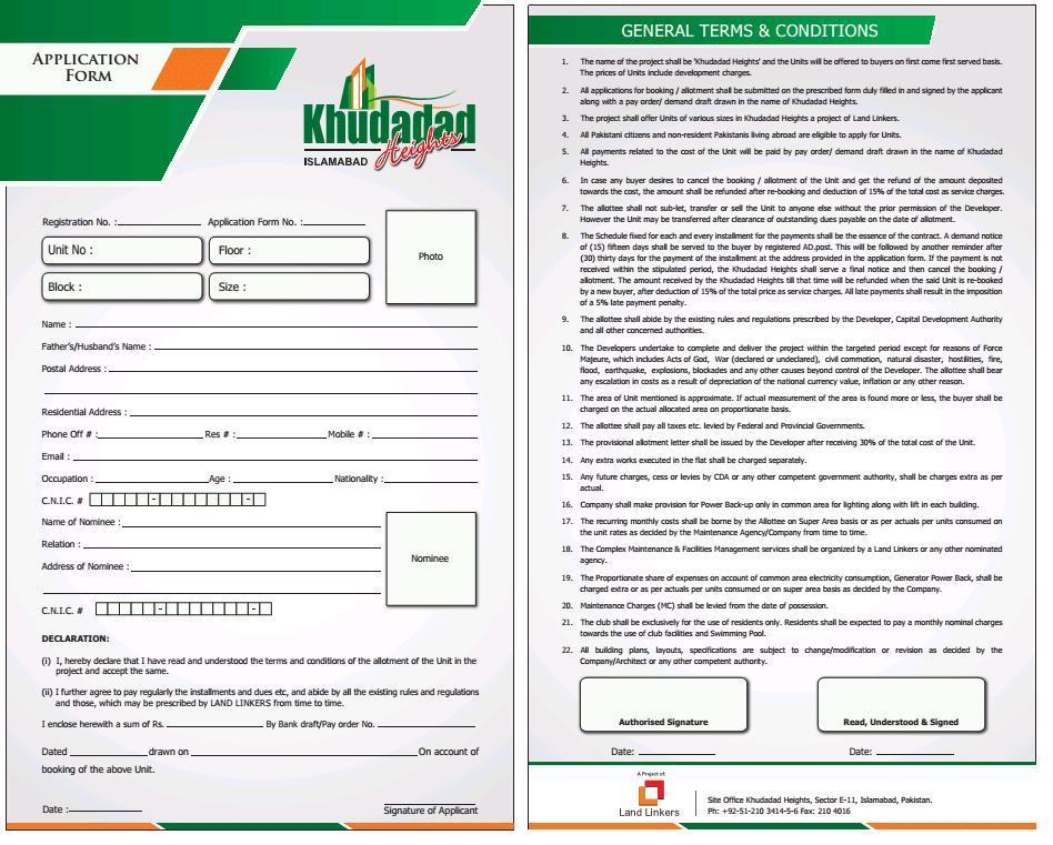 Application Form Khudadad Heights Islamabad   Real Estate, Housing ...
