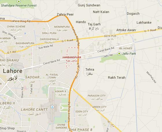 Lahore Journalist (Sahafi Colony) Harbanspura Location Map