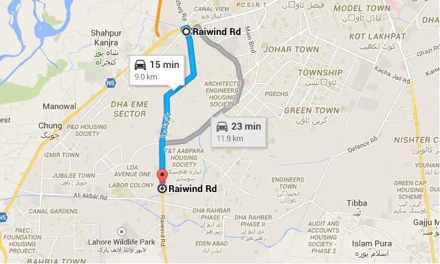 Sargodha Housing Scheme Lahore - Location Map on Raiwind Road