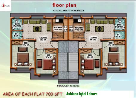 Ashiana Iqbal Apartment 2 Bed Rooms 700 SqrFeet