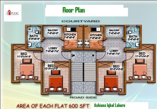 Ashiana Iqbal Flat Floor PLAN 600 SFeeT