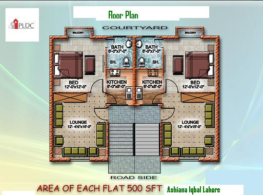 Ashianna Iqbal Apartment Floor PLAN 500 SFeet
